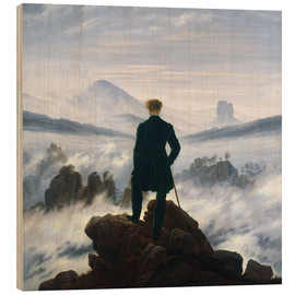 Print på træ  Vandreren over tågehavet - Caspar David Friedrich