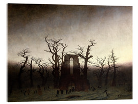 Akrylbillede  The Abbey in the Oakwood - Caspar David Friedrich