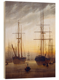 Print på træ  View of a harbor - Caspar David Friedrich