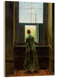 Print på træ  Woman at the Window - Caspar David Friedrich