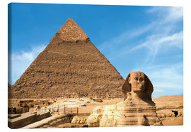Lærredsbillede  Sphinx in front of the Great Pyramid - Miva Stock
