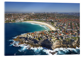 Akrylbillede  Aerial view of Bondi Beach - David Wall