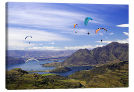 Lærredsbillede  Paragliders over Lake Wanaka - David Wall