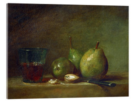 Akrylbillede  Pears, nuts, and a cup of wine - Jean Simeon Chardin