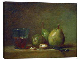 Lærredsbillede  Pears, nuts, and a cup of wine - Jean Simeon Chardin