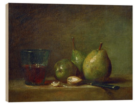Print på træ  Pears, nuts, and a cup of wine - Jean Simeon Chardin
