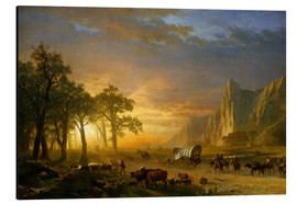 Print på aluminium  Wagon Train on the Prairie - Albert Bierstadt