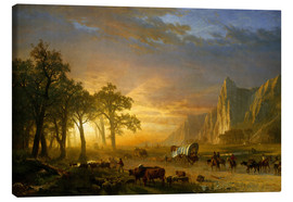 Lærredsbillede  Wagon Train on the Prairie - Albert Bierstadt