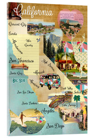 Akrylbillede  Vintage California Map Collage Poster on wooden background - GreenNest