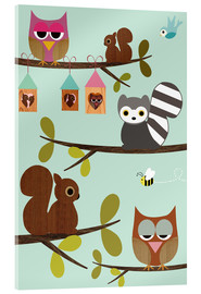 Akrylbillede  Happy Tree with cute animals - owls, squirrel, racoon - GreenNest