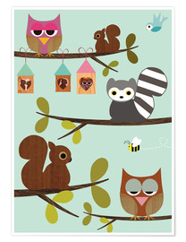 Premium-plakat  Happy Tree with cute animals - owls, squirrel, racoon - GreenNest