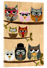 Akrylbillede  Nerd owls on branches - my friends and me - GreenNest