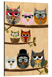 Print på aluminium  Nerd owls on branches - my friends and me - GreenNest