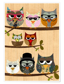 Premium-plakat Nerd owls on branches - my friends and me