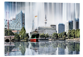 Akrylbillede  Hamburg Germany World Skyline - Städtecollagen