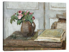 Lærredsbillede  Still life with the artist painting set and a vase with moss roses - Edouard Vuillard