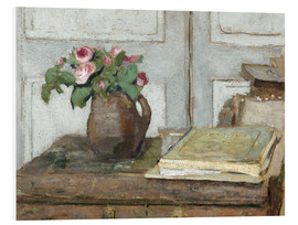 Print på skumplade  Still life with the artist painting set and a vase with moss roses - Edouard Vuillard
