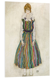 Print på skumplade  Portrait of the Artist's Wife, Standing (Edith Schiele in Striped Dress) - Egon Schiele
