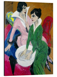 Print på aluminium  Two women with washbasin, The sisters - Ernst Ludwig Kirchner