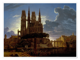 Premium-plakat  Cathedral over a city - Karl Friedrich Schinkel