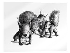 Akrylbillede  Three squirrels - Stefan Kahlhammer