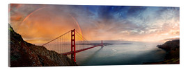 Akrylbillede  San Francisco Golden Gate with rainbow - Michael Rucker