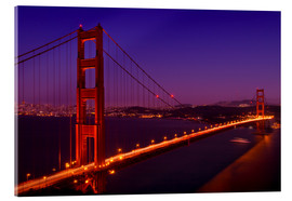 Akrylbillede  Golden Gate Bridge by Night - Melanie Viola