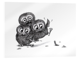 Akrylbillede  Help, three owls and a monster - Stefan Kahlhammer