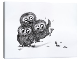 Lærredsbillede  Help, three owls and a monster - Stefan Kahlhammer