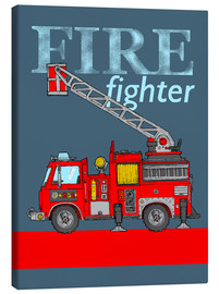 Lærredsbillede  fire fighter fire truck - Fluffy Feelings