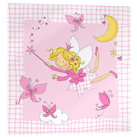 Akrylbillede  flying fairy with butterflies on checkered background - Fluffy Feelings