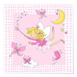 Premium-plakat flying fairy with butterflies on checkered background