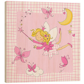 Print på træ  flying fairy with butterflies on checkered background - Fluffy Feelings