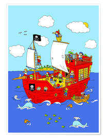Premium-plakat pirate ship scene