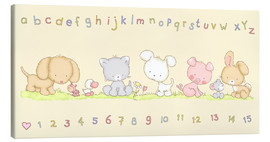 Lærredsbillede  baby pet animals with alphabet and numbers - Fluffy Feelings