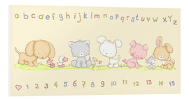 Print på skumplade  baby pet animals with alphabet and numbers - Fluffy Feelings