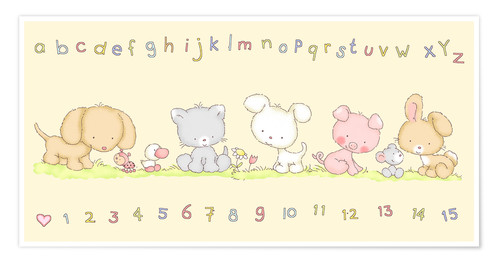 Premium-plakat baby pet animals with alphabet and numbers