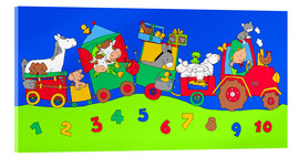 Akrylbillede  tractor train with farm animals and numbers - Fluffy Feelings