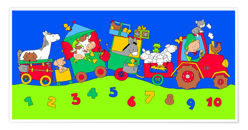 Premium-plakat tractor train with farm animals and numbers