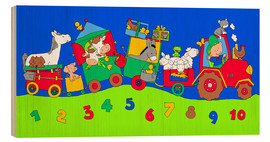 Print på træ  tractor train with farm animals and numbers - Fluffy Feelings