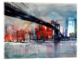 Akrylbillede  New York, Brooklyn Bridge IV - Johann Pickl