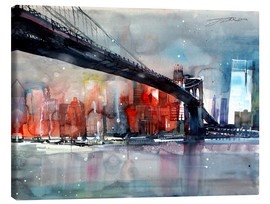 Lærredsbillede  New York, Brooklyn Bridge IV - Johann Pickl