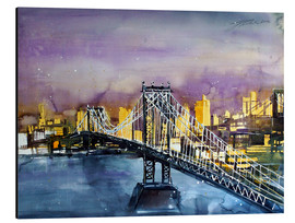 Print på aluminium  New York, Manhattan Bridge - Johann Pickl