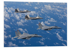 Print på skumplade  Two F-15 Eagles and F-22 - HIGH-G Productions