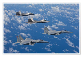 Premium-plakat Two F-15 Eagles and F-22