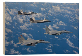 Print på træ  Two F-15 Eagles and F-22 - HIGH-G Productions
