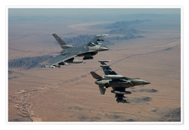 Premium-plakat Two F16 on a training mission