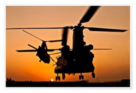 Premium-plakat Two Royal Air Force CH-47 Chinooks