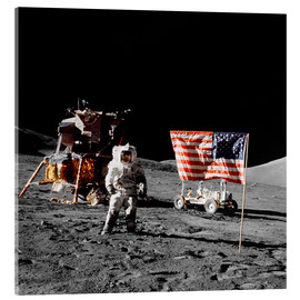 Akrylbillede  Apollo 17 astronaut stands near the United States flag - Stocktrek Images