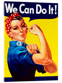 Akrylbillede  Rosie The Riveter vintage war poster from World War Two - John Parrot